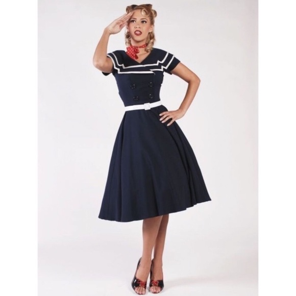Bettie Page 3XL Navy Sailor Swing Dress